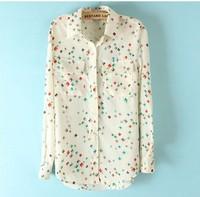 Женские блузки и Рубашки ST274 New womens' elegant vintage OL Diamond print blouse chiffion with pockets shirt casual shirt slim brand designer top