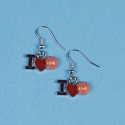 I LOVE BASKETBALL EARRINGS Sports earrings MINT .Free shipping