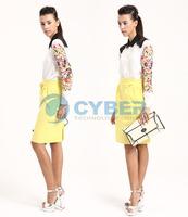 Женские блузки и Рубашки 2013 European Style Women's Retro Print Lace Chiffon Shirt/ Long Sleeve V-Neck Blouse 3size 13527