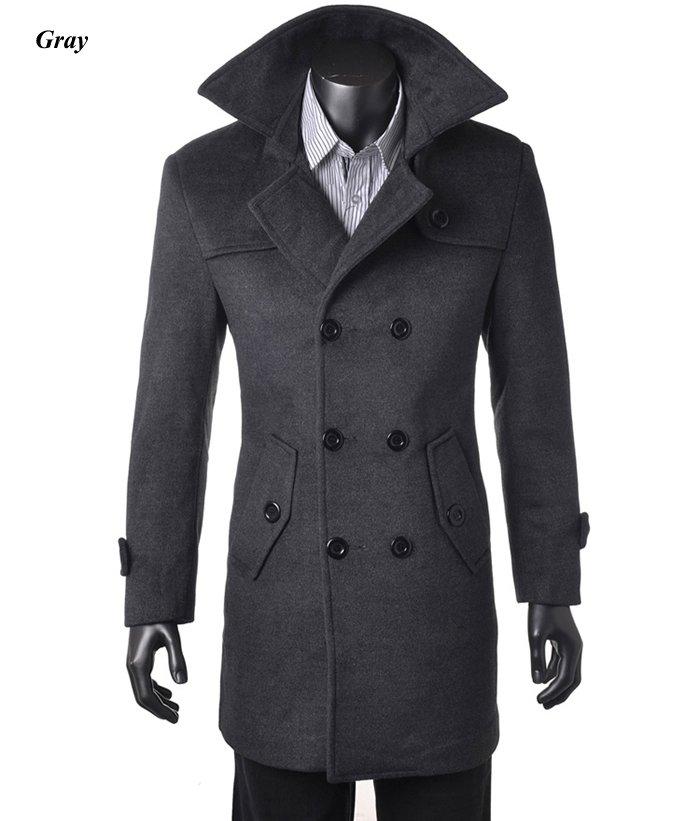 2015 NWT Men&amp039s Wool Coat Double-breaste Winter Trench Coat