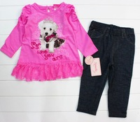 Комплект одежды для девочек Brand New girls Autumn Clothing Suits Kids Fashion Young Heart Cute Dogs Carton Pattern lacely Suits Spring Wear for girls