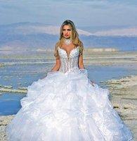 Свадебное платье custom size all color Halter Chapel Train wedding dresses b063
