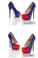 Туфли на высоком каблуке ladies fashion Candy color platform pumps stiletto high heeled shoes Black/Blue/White