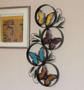 C rculos borboleta rodada de metal wall art decor for Adornos pared metal