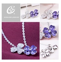 Free Shipping (No Min Order) Neoglory fashion women elegant necklace flower pendant necklace wholesale new products for 2012