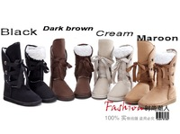 Женские ботинки New Arrive 5 color Winter Woolen Lace Up Snow Women Boots Shoes lady