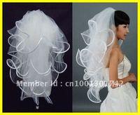 Free shipping 4T White Ivory Wedding Bridal 19x27x33x40 inches Ribbon Edge Comb Veil wedding dress
