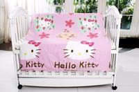 Постельные принадлежности 10pc baby crib hello kitty bedroom set with filler, baby bedding sets 100% cotton filler, size140*70/130*70mm, EMS