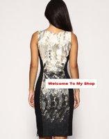 /Retail новая мода элегантная женщина змеевик печати хлопка туника платье