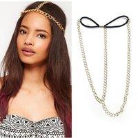 Аксессуар для волос 3xChain Elastic Hair Cuff Wrap Crown Headband Headwrap Headdress BOHO Hippy Gothic[000756x3