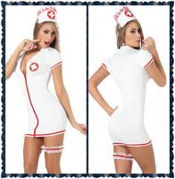 Women`s Fashion Clothes Deep-V White Nurse Costume Dresses & Zipper Sexy Lingerie Clubwear H16