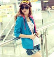 Женские толстовки и Кофты Fashion Slim Thin Solid Hooded Sweater Women's Long Sleeve Cardigans Hoodie Coat Outerwear