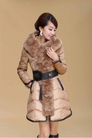 Женские пуховики, Куртки MIGO BRAND korean style women coat 2013 winter extra thick fur collar white duck women's down coat parkas
