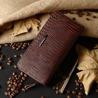 Кошелек Three color 100% genuine leather wallet for bussiness men men's long design purse fashion crocodile grain handbag