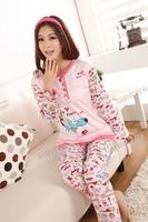 Женская пижама Pink 3pcs/lotLadies Women's Cotton Cute Cartoon Dog Long Sleeve Cotton Pajamas Sleepwear Homewear Sets 11176
