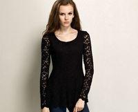 Женская футболка New Women Fashion Celerbrity Long Sleeve O Neck Knee Length Lace Cotton Bottom Shirt T Shirt Dress S M L XL