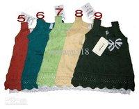 Платье для девочек Girls tank tops dresses sweaters pretty bow cotton lineTank dresses