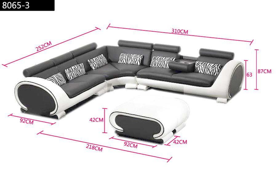 Volledige Woonkamer Set : L-shaped Leather Sofa