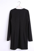 Free Shipping 2013 New Ladies' Elegant Black And White Knit  Mini Dresses Long Sleeve Sexy Evening Party Prom Vintage Dress