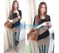 Женская футболка 2012 New Fashion Women's Batwing Long Sleeve T-Shirt Wide Stripe Splice Tops Blouses