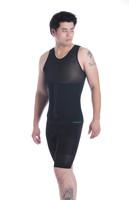 Мужская корректирующая одежда- Mens Slimming Body Shaper Vest Shirt Abs Abdomen Slim