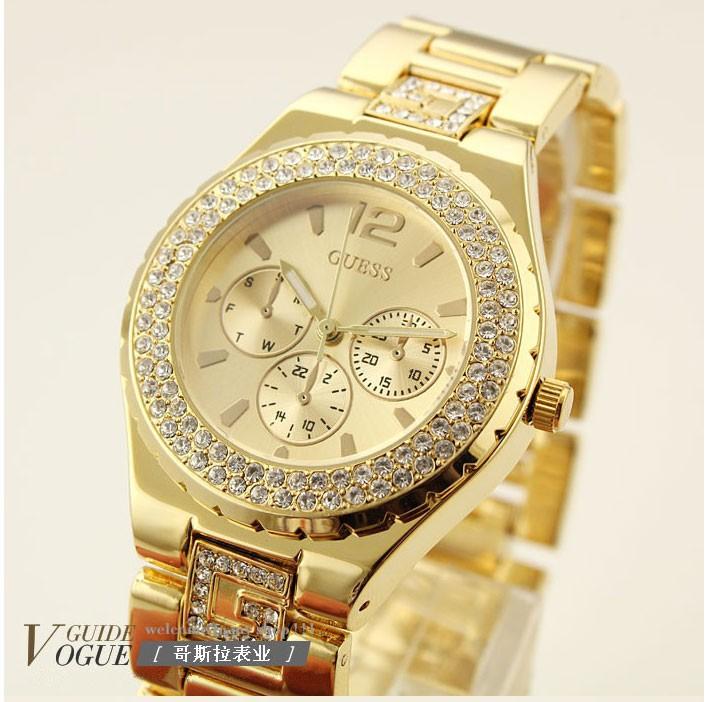 Женские часы Guess цвет золото, циферблат золото со стразами в точности как на картинке качество отличное цена