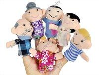 Перчаточная кукла holiday sale 6pcs Family Finger Puppet, Kids Finger toy, finger doll, Baby stories helper doll Christmas 6129