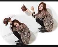 Women's Fashion Sexy Mid-length Long Sleeve Batwing Sleeve Coat Jacket Outwear Leopard cardigan free shipping 8567