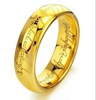 fashion highly polished ring jewellery titanium ring gold plated lord of the rings