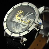 Наручные часы Special Design Transparent Dial Diamond Inlaid Fan-shaped Flywheel Black band Automatic Mechanical Watch