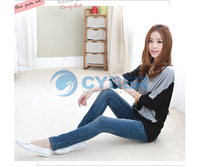 Женская футболка 2012 New Fashion Women's Batwing Long Sleeve T-Shirt Wide Stripe Splice Tops Blouses