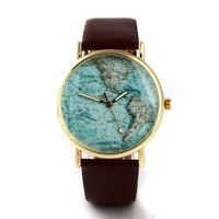 Наручные часы 2013 Fashion Leather Watchband Round World Map Dial Quartz Watches