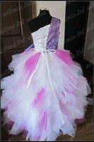 Hotsale!Gril Peach beading Ball Gown Organza Pageant Dresscustom Size 2.4.6.8.10