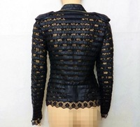 Free shipping women's lace cutout PU patchwork fashion slim coat,women's fashion V/neck jacket
