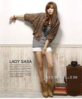 Женская куртка Fashion Women's Autumn Half Sleeve Hooded Leopard Print Casual Cropped Club Tops Zipper Small Jacket Blouse 0709