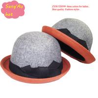 Дешевые новые моды двойной цвет curl шляпы fedora 100% шерсти войлока износ кромки для стиля шляпу зимой, осенью, весной и topee
