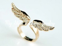 Rose Gold P Angel Crystal Fly Wing Design Ring Adjustable Size Ladies' girls Loves Free Shipping R1148