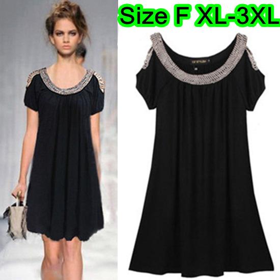 XL-3XL Ladies Plus Size Black Beaded Short Sleeve Stretchy Dress ...
