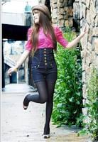 Женские джинсы Fashion vintage jumpsuit high waist pants gold buckle denim shorts female single breasted plus size 8XL