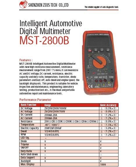 Intelligent automotive digital Multimeter MST-2800B