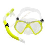Маска для дайвинга New Fluorescence Yellow Scuba Diving Equipment Dive Mask + Dry Snorkel Set Scuba Snorkeling Gear Kit TK0868