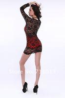 Женское платье Black V-neck slim long sleeve lace dress, sweet lace hollow splice sexy underwear 5410