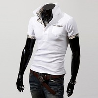 reduce price plaid collar slim cool anti-pilling Young men apparel short sleeve polo t shrits mens clothing