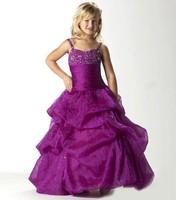 Детское платье Hot sale popular ball gown spaghetti strap floor-length beading purple high quality flower girl dress