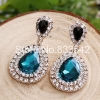 Новая большая капля слезинки мотаться Серьги золотые шпильки для женщин сапфировый синий кристалл хрусталь с кристалами SWAROVSKI
