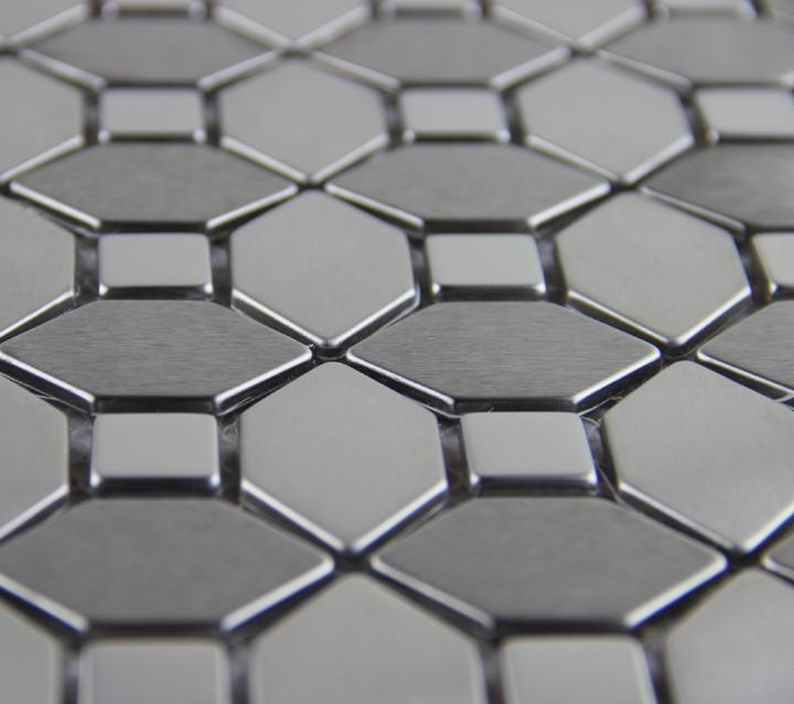 Aluminium R?ckwand Dusche : edlen silber metall mosaik edelstahl fliese deko wandpaneel Dusche