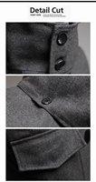 Мужские изделия из шерсти Hot Men's Jackets, Detachable hat male woolen outerwear slim horn button overcoat Color:Black, Gray Size:M-XXL