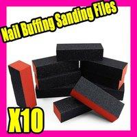 Fast & Free shipping 10 x black nail art buffer sanding block files gel S019