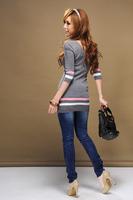 5,725 Korean women's fashion fall/winter 2012 new style v collar 7 min Wai stripe sleeve slim sweater