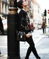 Женские толстовки и Кофты Top quality Fashion spring Embroidery floral o-neck long-sleeve sweatshirt ladies Casual sweatshirt